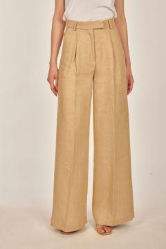 Pantaloni sartoriali beige chiaro in lino spinato