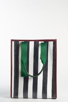 Shopping bag with black and white stripes