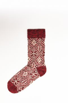 Red socks with texture