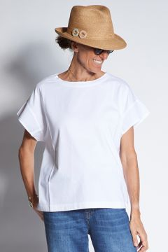 Short sleeve t-shirt with poplin details