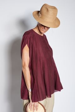Voile top with pleats