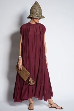 Long voile dress with pleats