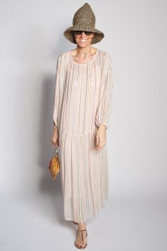 Long over dress with lurex stripes