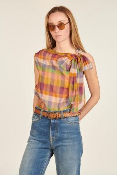 Luxor checkered top with bow