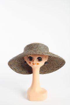 Cappello a visiera intrecciato nero e beige
