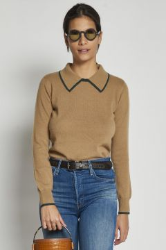 beige cashmere sweater with green profiled collar