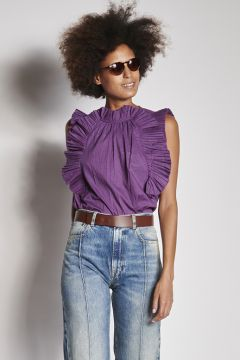 Purple top with rouches