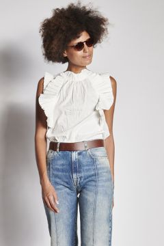 White top with rouches
