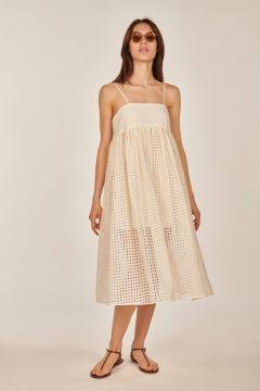 White midi broderie anglaise dress