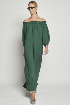 Green dress with drawstring on the shoulders