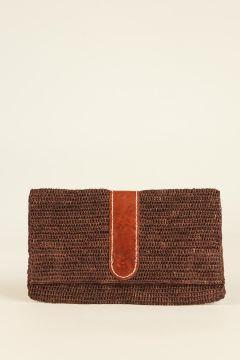 Brown Belizi woven rafia pochette