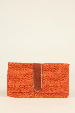 Orange Belizi woven rafia pochette