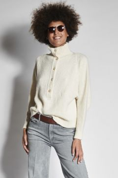 White sweater with buttons