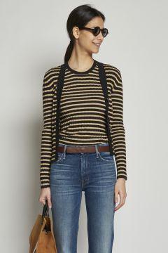 Beige and black striped cardigan