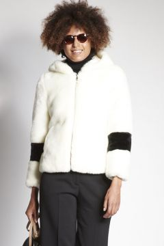 White faux fur with hood