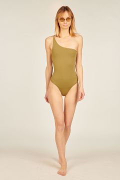 One-shoulder green Bianca swimsuit