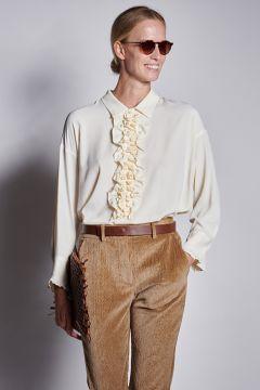 Cream shirt with ruffles