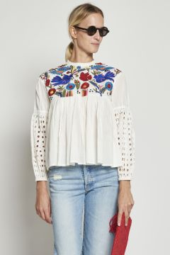 White cotton shirt with embroidery