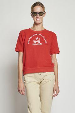 Red sweatshirt with print