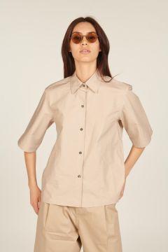 Beige short-sleeved shirt