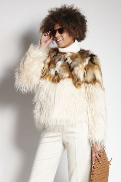 White and spotted faux fur