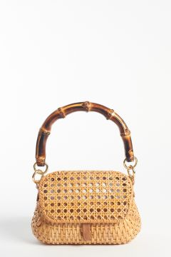 Straw clutch with bamboo handle