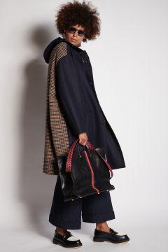 Blue hooded coat