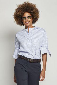 cotton crewneck shirt with medium stripe