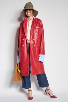 Double-breasted red faux leather coat