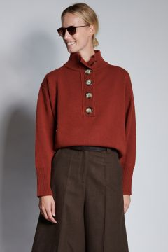 Brick sweater with front buttons
