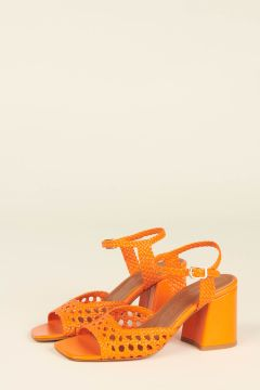 Orange Capri woven strips sandals