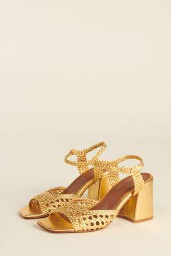 Gold Capri woven strips sandals