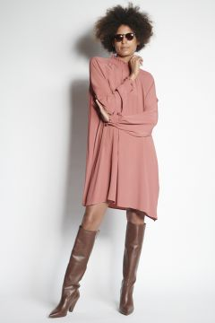 Pink mini dress with gathered collar