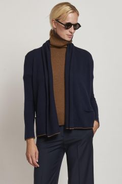 blue over cardigan with burnt-colored edges