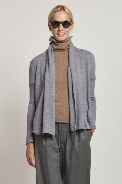 gray over cardigan with camel-colored edges