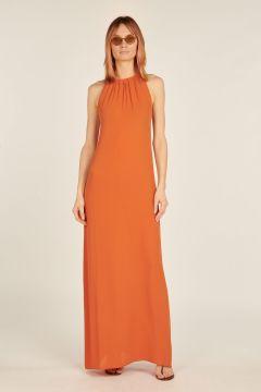 Orange Carlotta tied neck dress