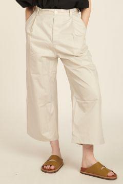 Wide leg ivory trousers