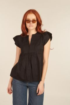 Blue Jeanne Top with plastron