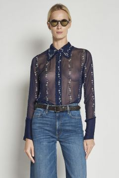 Blue creponne silk Shirt With embroidered flowers