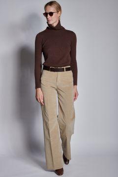 Pantaloni beige in velluto liscio