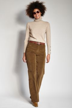 Long smooth tobacco trousers
