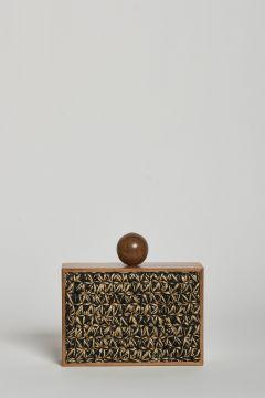 Wooden Clutch and raffia