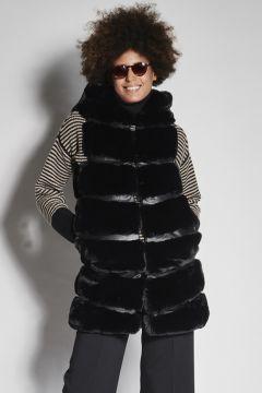 Black faux fur vest with hood