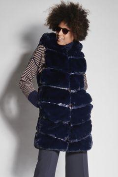 Faux fur blue vest with hood