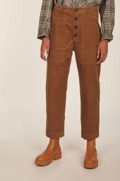 Pilot camel cropped cotton pants