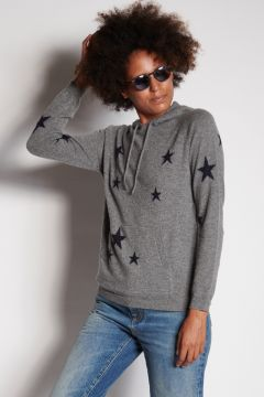 Gray hooded sweater with stars