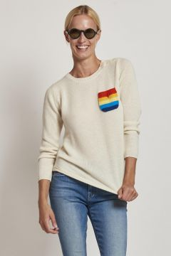 cashmere sweater with colored striped pocket
