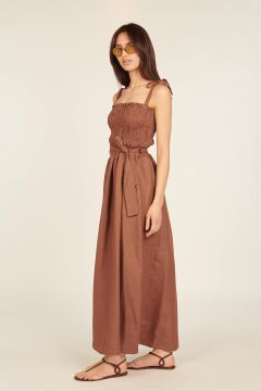 Brown long dress with bow