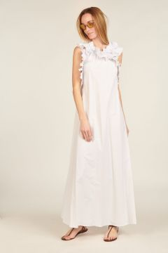 White pleated long dress