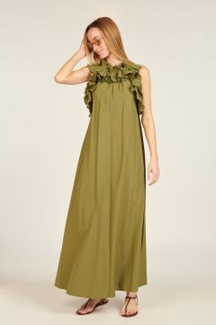 Military green pleated long dress
